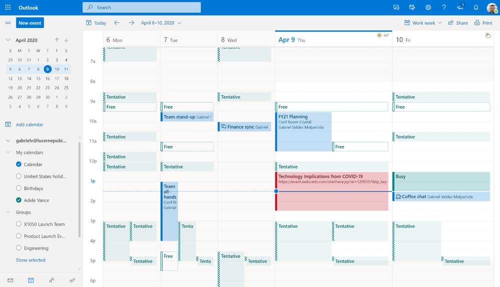 Image 1 - See your schedule next to or combined with the calendar from someone in your organization