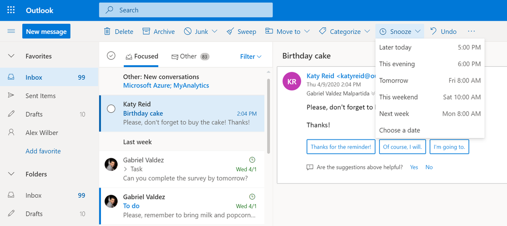 Image 10 - Snooze in Outlook on the web or customize swipe action in Outlook on your phone to snooze messages