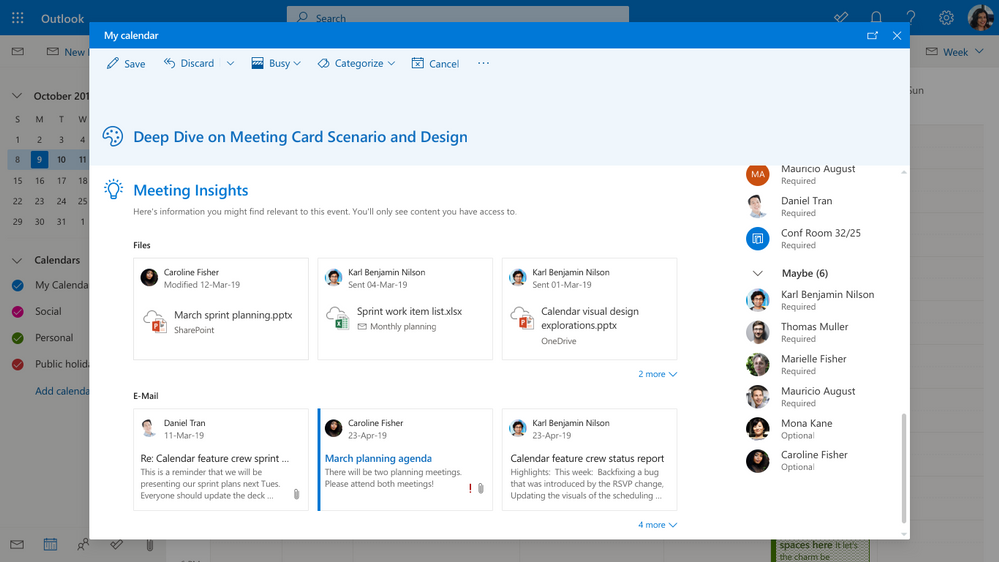 Image 11 Find Meeting Insights when you scroll down on the meeting event in your calendar