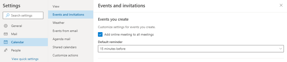 Image 12 Easily add online meeting to any event or adjust settings so they're added by default