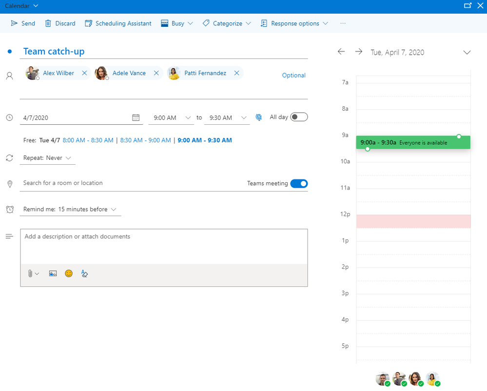 Image 13 In your work account you can easily add a Teams meeting