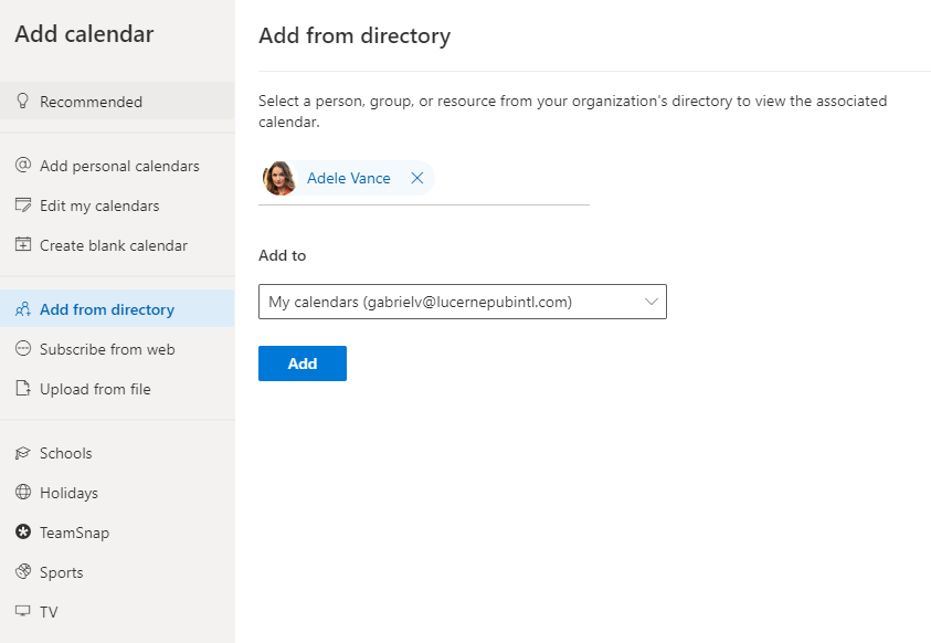 Image 2 - Add your colleague's calendar from your organization's directory
